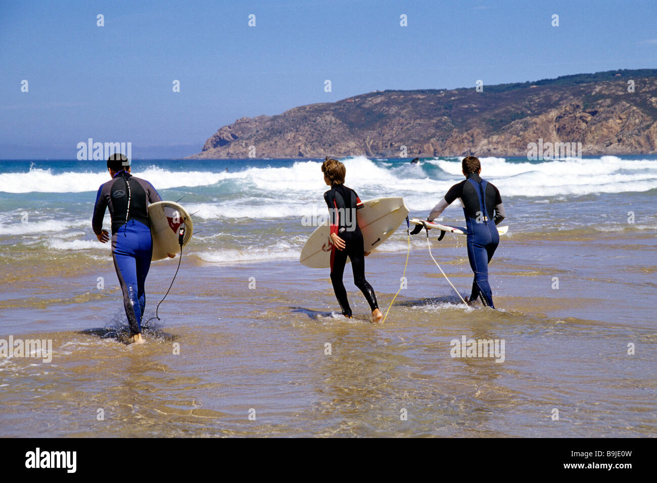 Praia do Guincho, beach on the Atlantic with surfers from Cascais, Estoril and Lisbon, Portugal, Europe Stock Photo