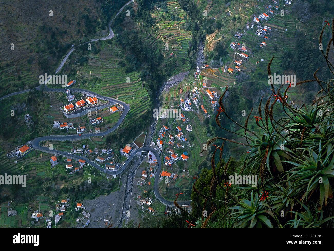 Portugal island Madeira Eira do Serrado aerial-shot island-landscape landscape place houses residences terrace-fields - Stock Image
