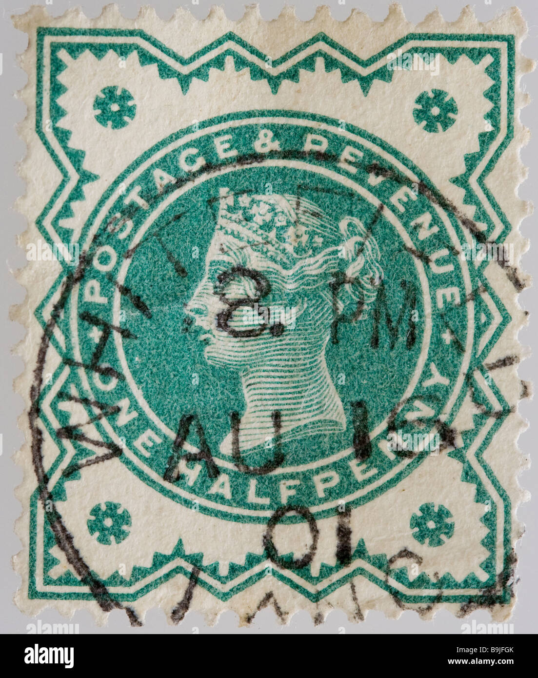 English Victorian postage half penny Jubilee stamp 1887-1900 SG 213 used - Stock Image