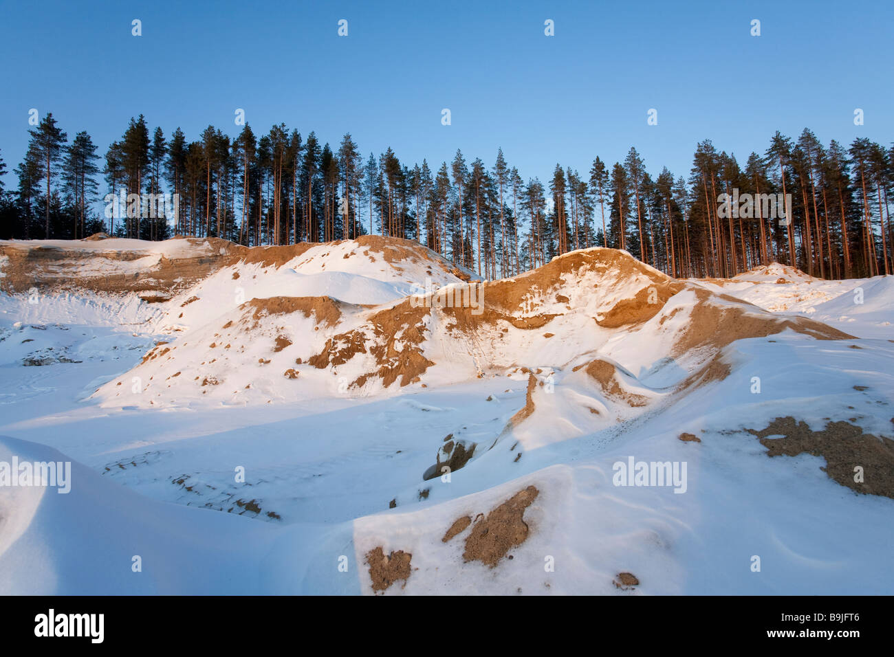 Gravel and sand extraction area on a glacial esker , Finland - Stock Image