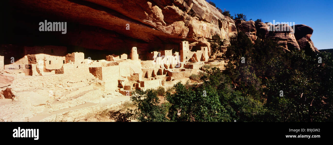 Cliff Palace Anasazi dwellings in Mesa Verde National Park Colorado - Stock Image