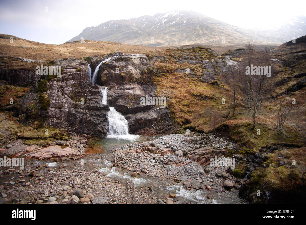 Wide angle study of a waterfall in landscape. - Stock Image