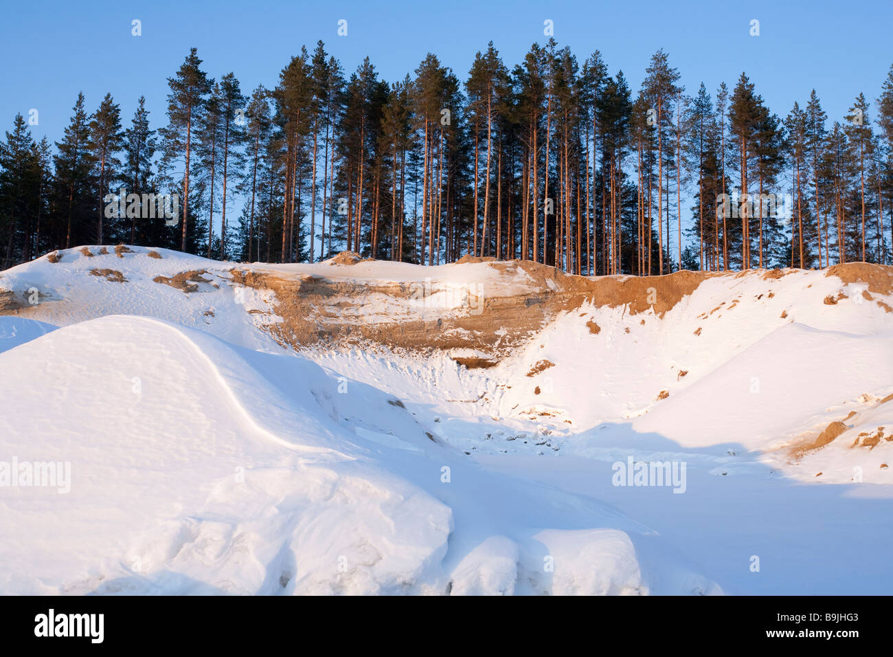 Gravel and sand extraction area at ice-age esker , Finland - Stock Image