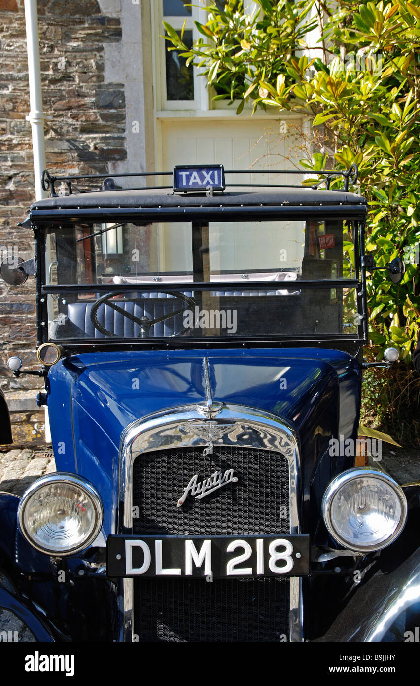 a vintage austin motor car that was used as a taxi cab,england,uk - Stock Image