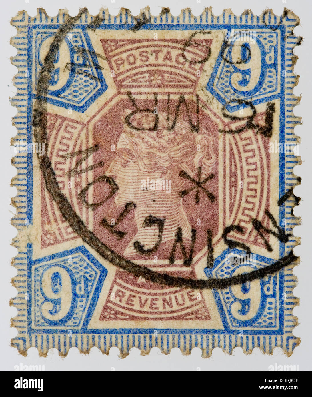 British Victorian 9d postage stamp 1887-1900 SG209, Jubilee issue, blue and brown, franked, used - Stock Image
