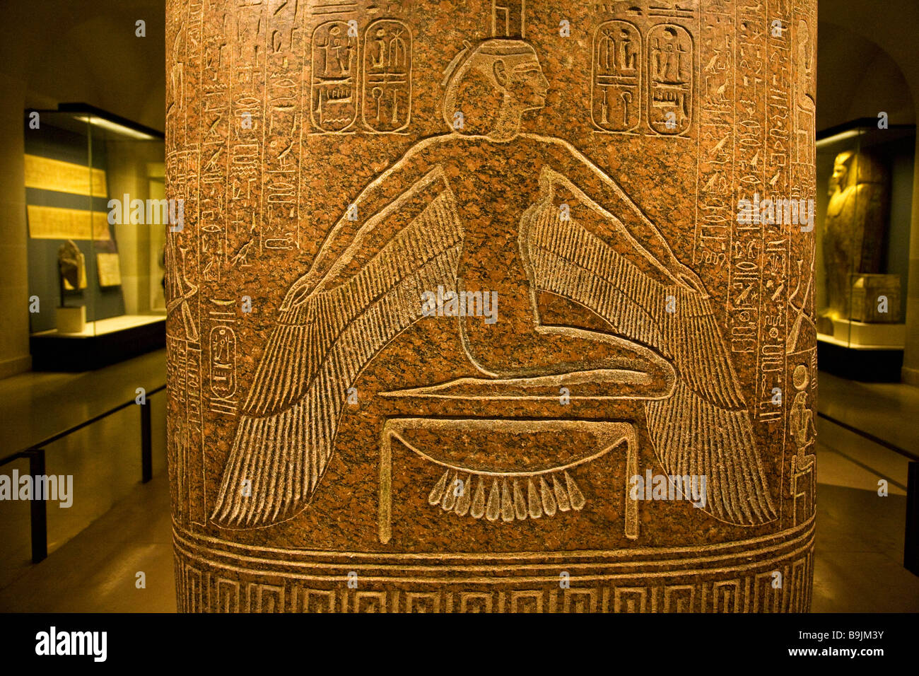 Goddess Isis spreads wings on polished granite sarcophagus of Ramses III Musee du Louvre Museum Paris France Europe - Stock Image