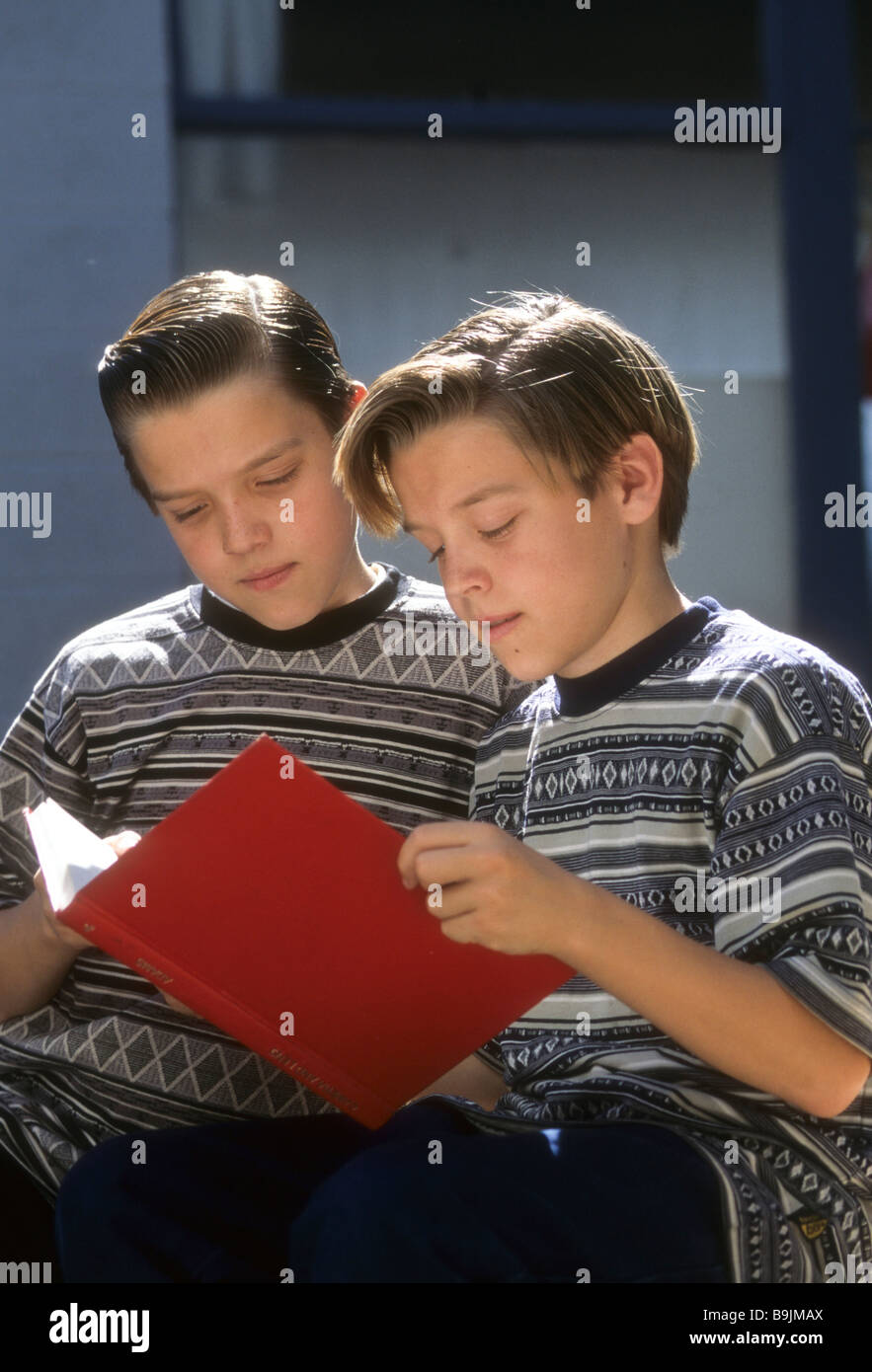 Twin boy brother read book share look alike same age compare see sun outdoor outside intent interest attention - Stock Image