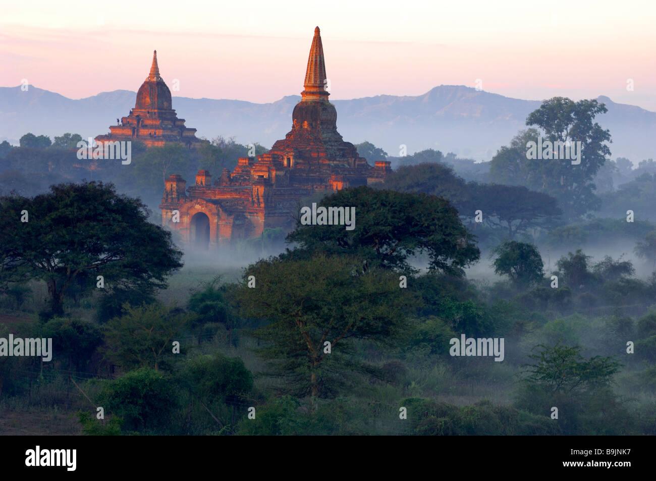 the ancient temple city of Pagan Bagan at Myanmar Burma Birma - Stock Image