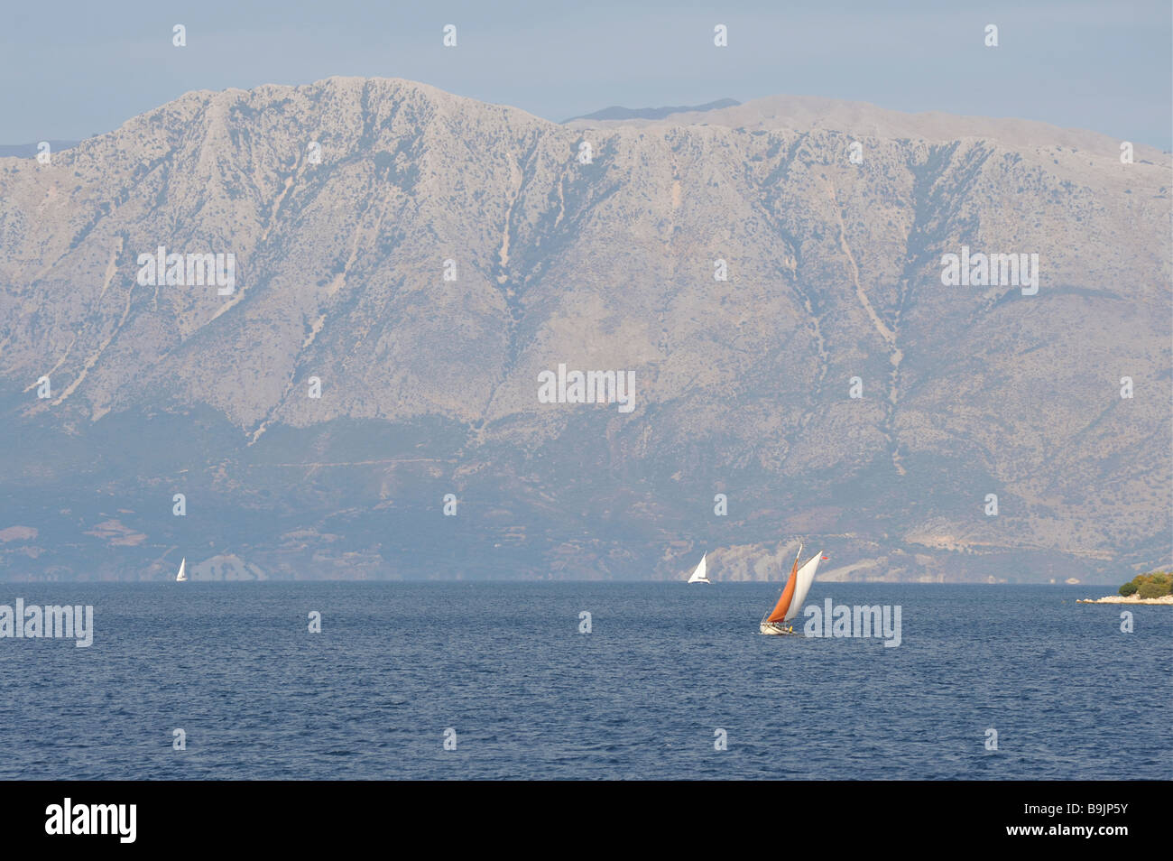 View towards Cape Kefali on the Greek Mainland from the island of Lefkada. - Stock Image