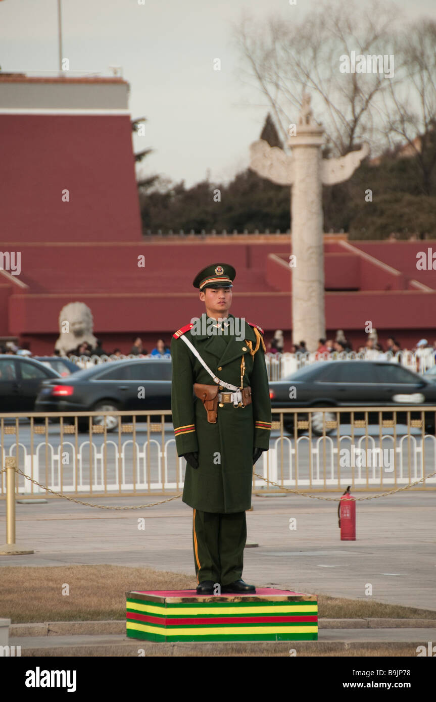 People Liberation Army's soldier on the Tiananmen Square, Beijing, China - Stock Image