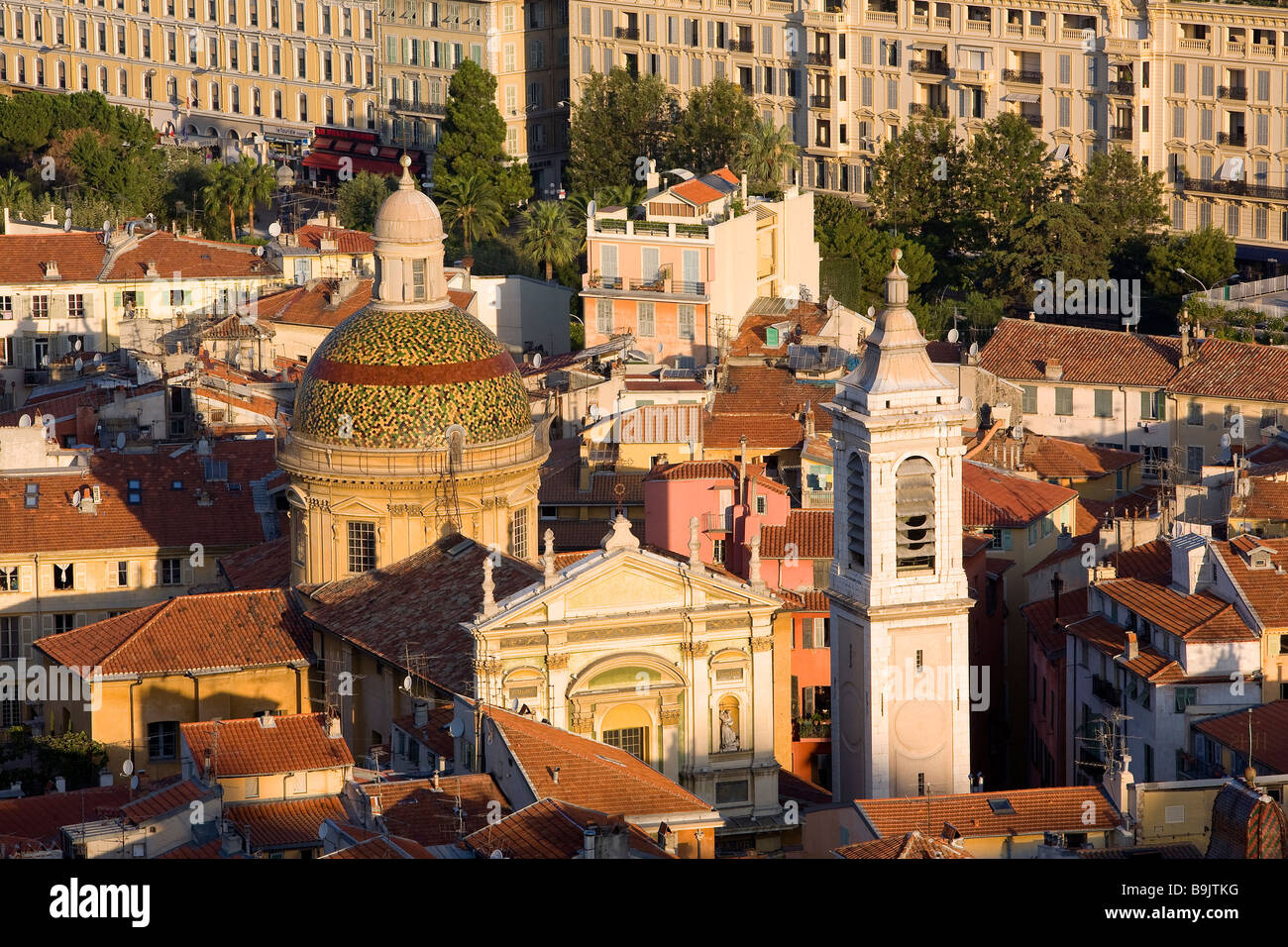 France, Alpes Maritimes, Nice, Sainte Reparate Cathedral and Old Town roofs Stock Photo