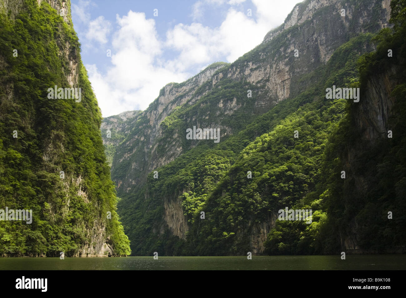 Lush limestone cliffs rise above the Grijalva River as it winds through Sumidero Canyon in Chiapas, Mexico. - Stock Image