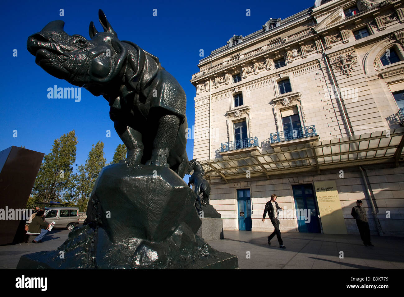 France, Paris, Musee d' Orsay, esplanade, Rhinoceros, sculpture by Henri Alfred Jacquemart - Stock Image