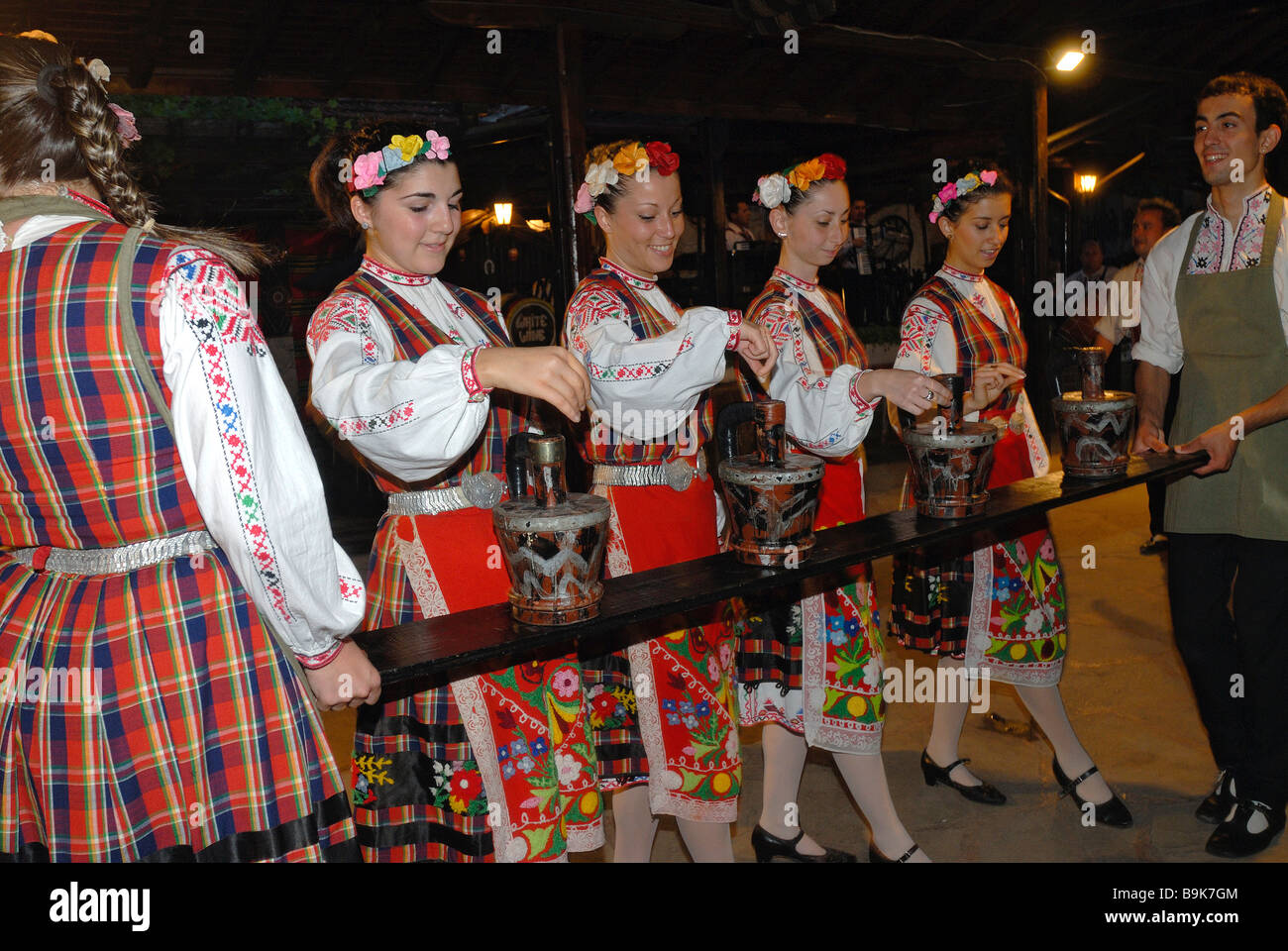 Bulgaria, Black Sea region, Bata, folk dance show - Stock Image