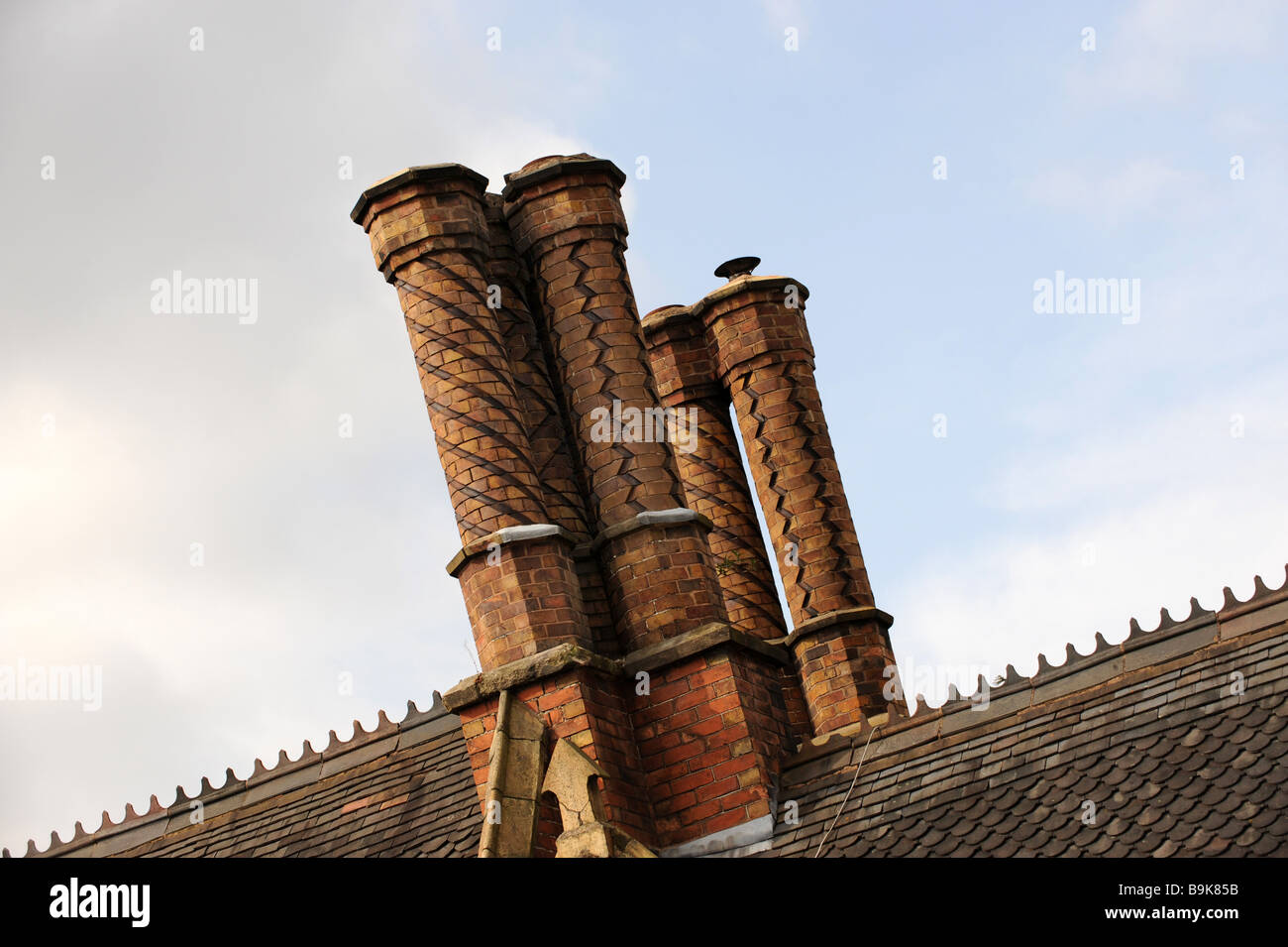 Decorative Chimney Stacks With Spiral Effect In Ironbridge Shropshire  England Uk   Stock Image