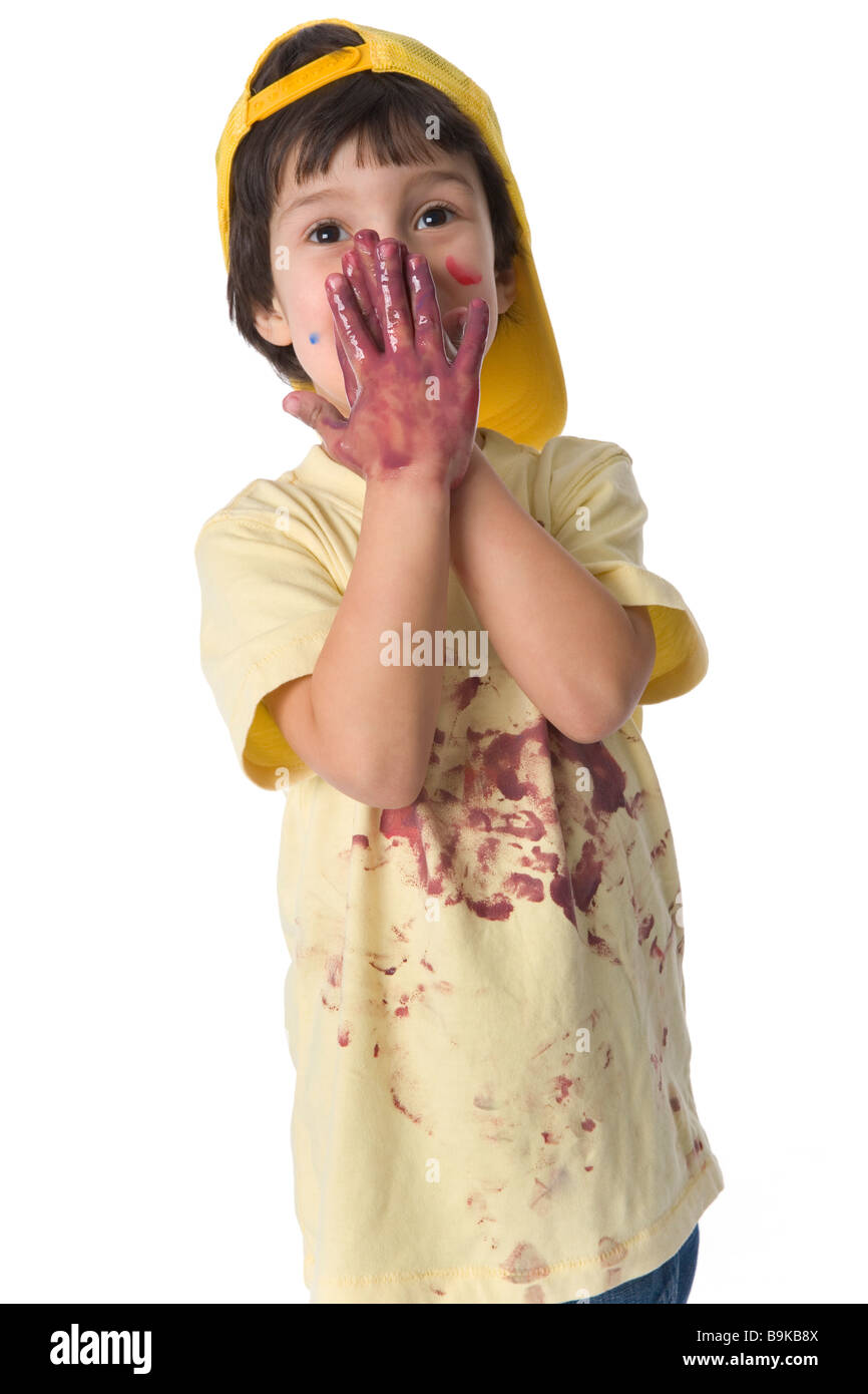 Little boy with hands full of paint - Stock Image