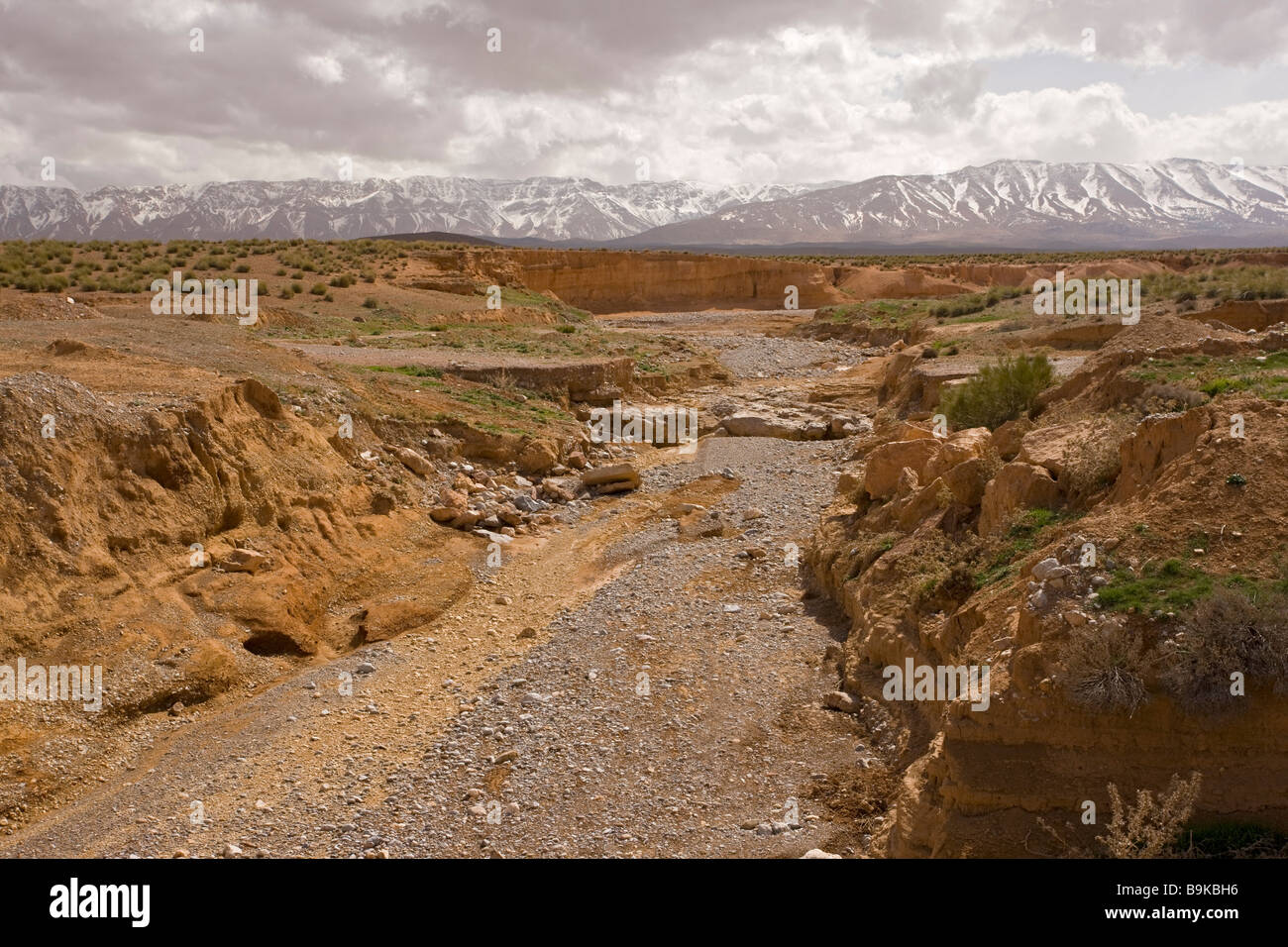 Dry river on the Zeida plain with the High Atlas mountains beyond Morocco - Stock Image