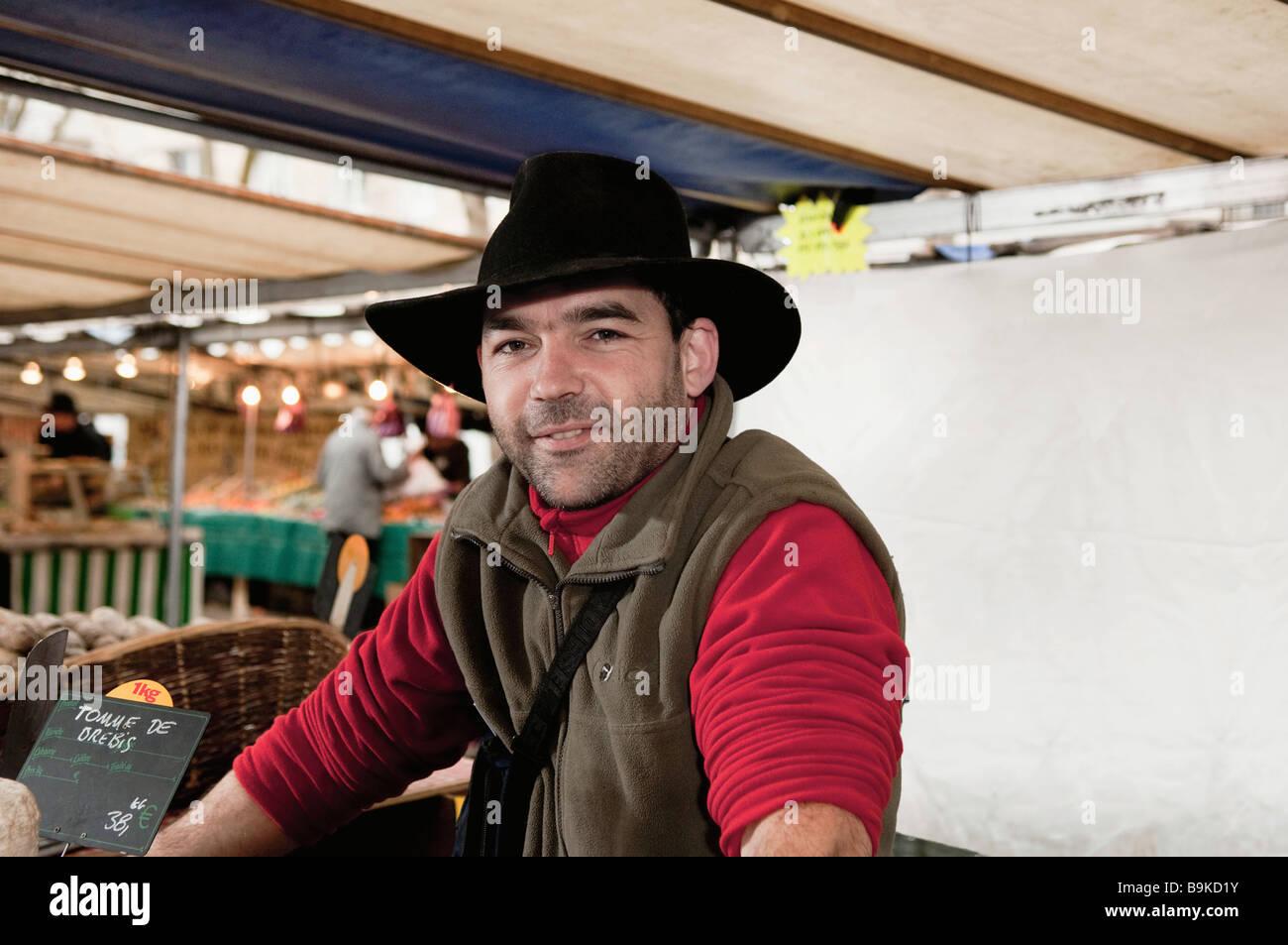 Portrait of Corsican vendor - Stock Image