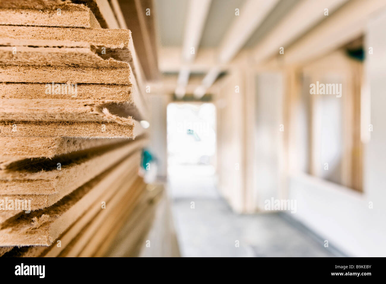 still life of wooden planks on construction site - Stock Image