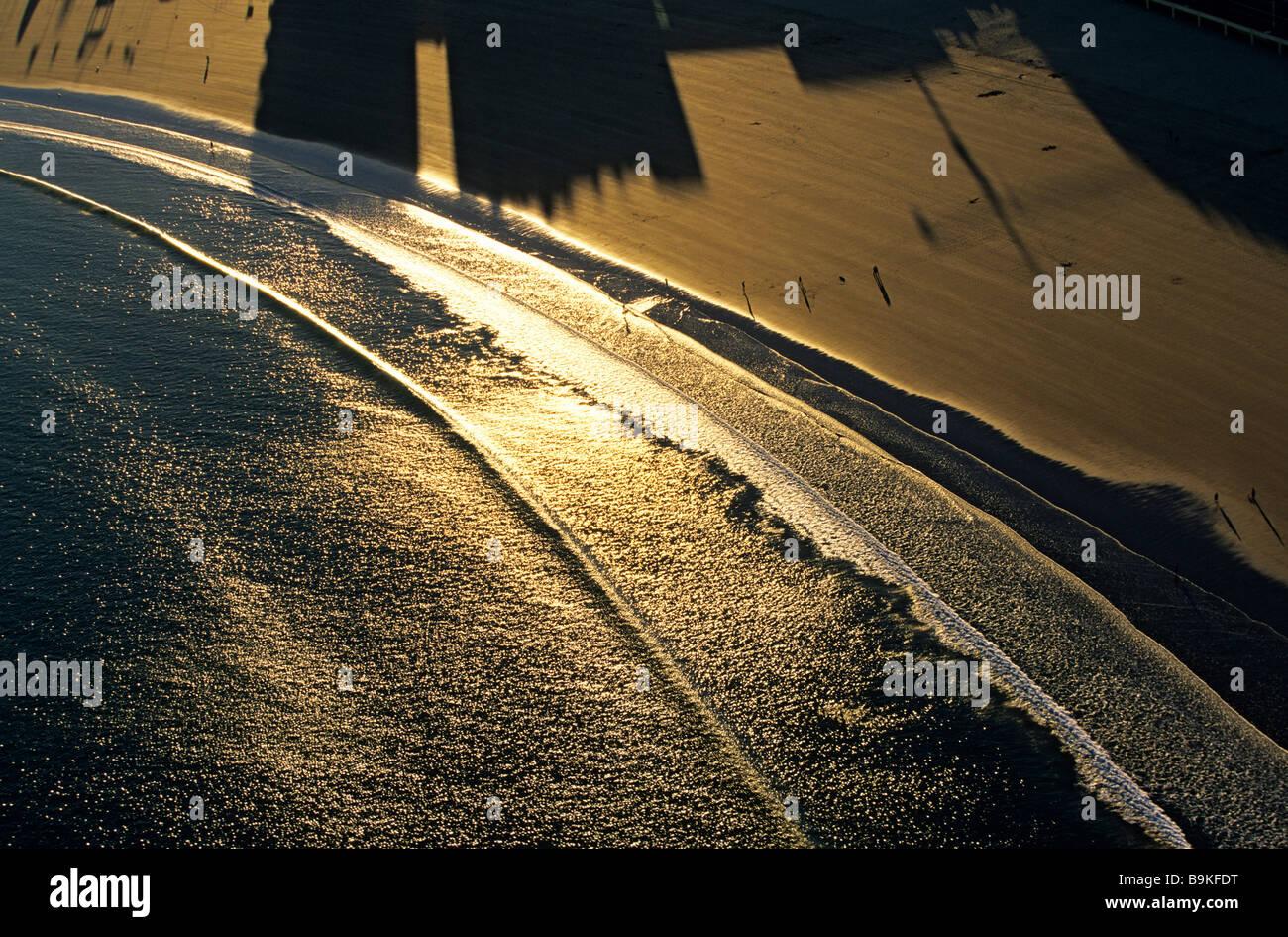 France, Vendee, Les Sables d' Olonne, bord de mer (aerial view) - Stock Image