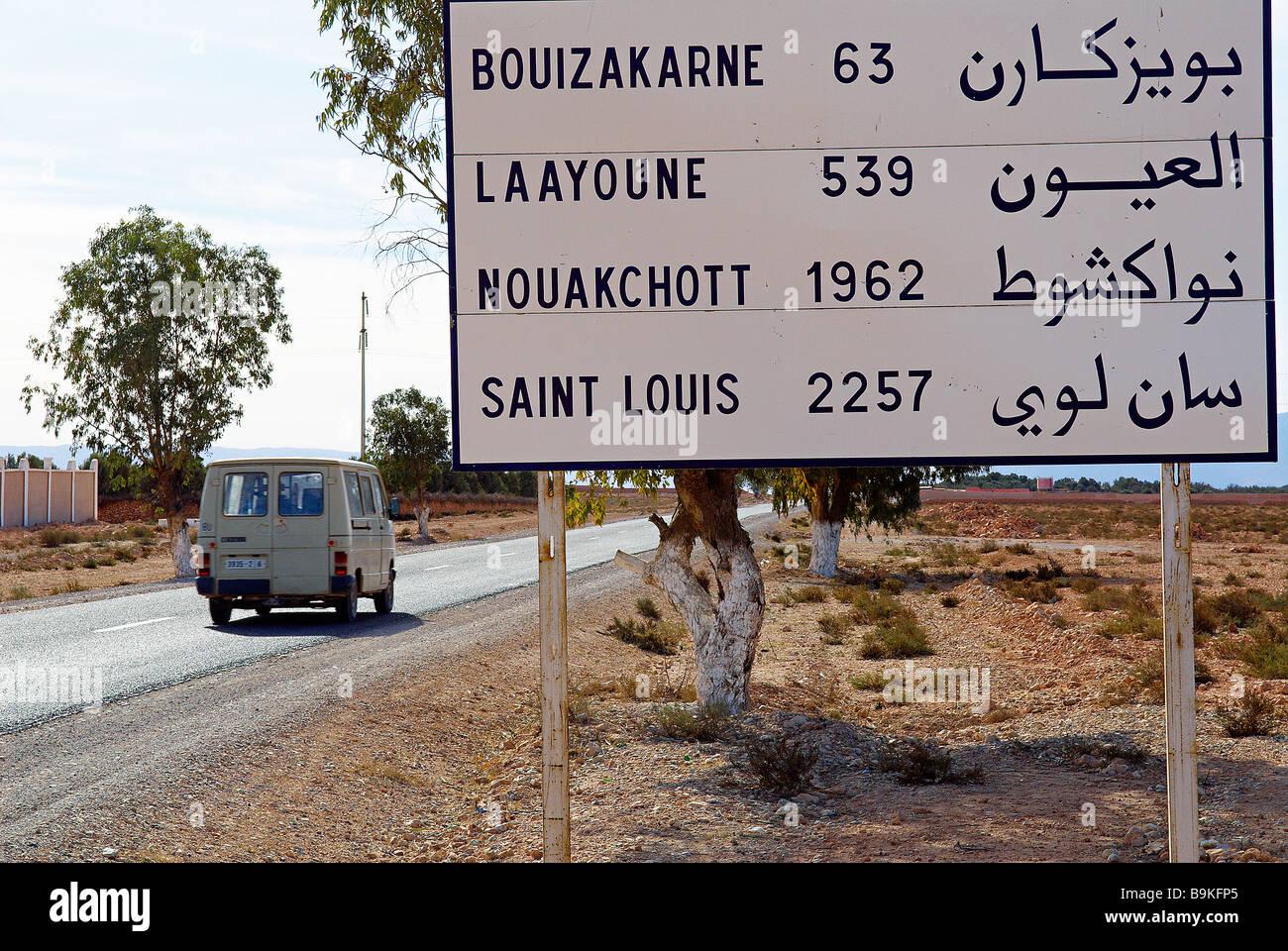 Morocco, direction signs with kilometric distances - Stock Image