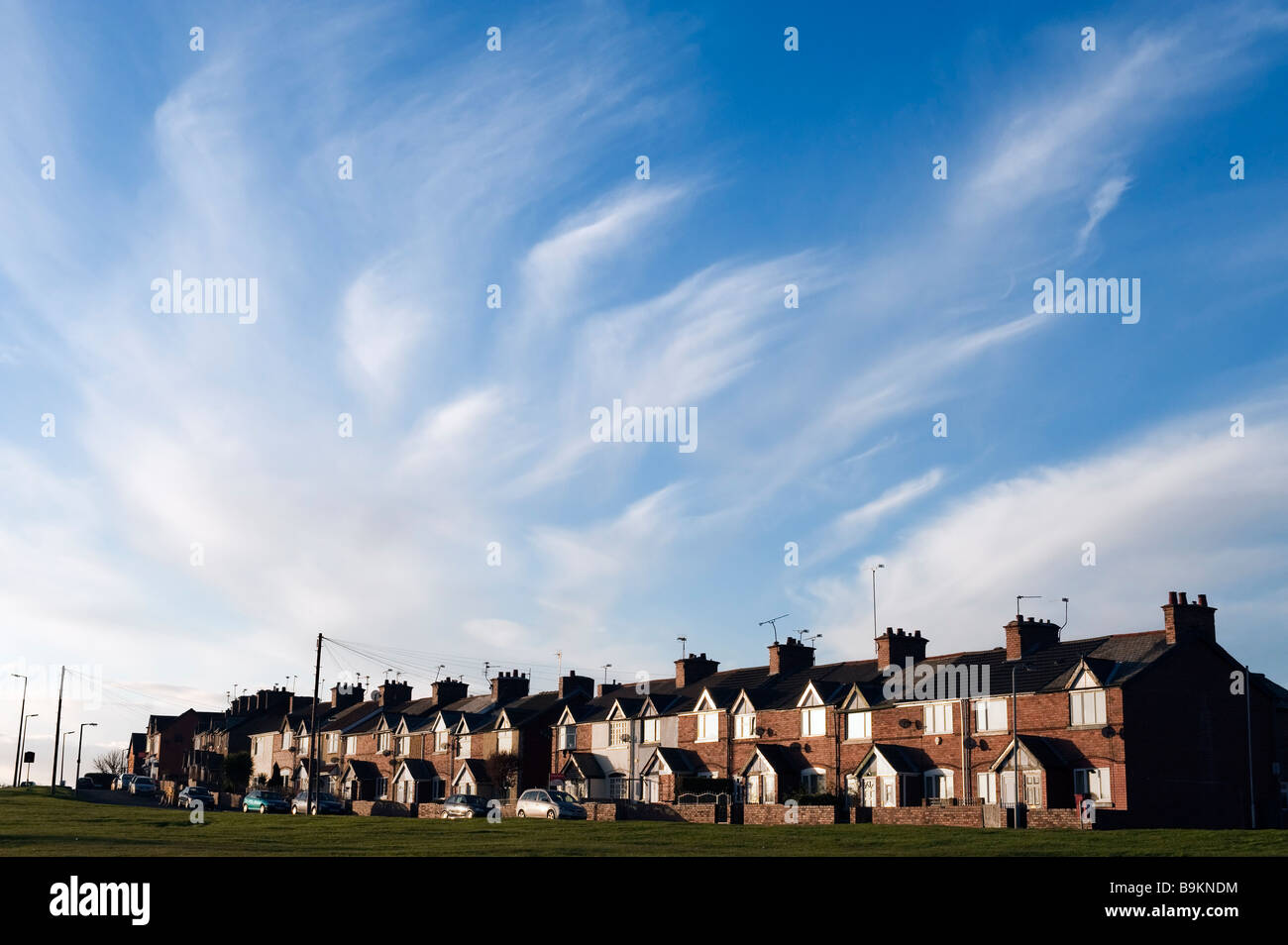 A row of terraced housing at Maltby,'South Yorkshire', England,'Great Britain' - Stock Image