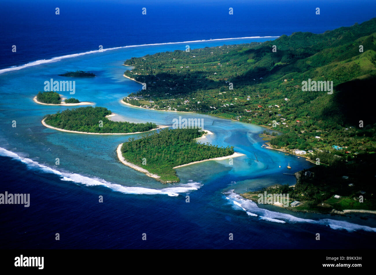 South Pacific, Cook Archipelago, Rarotonga Island (aerial view) - Stock Image
