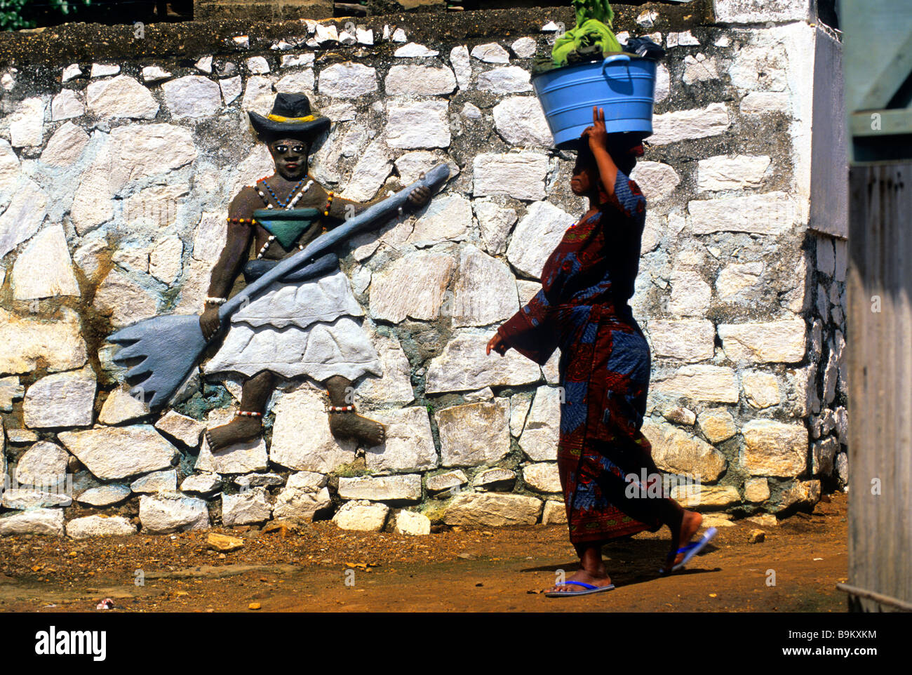 Benin, Collines County, Savalou, Sato Convent, Voodoo fetishes sculpted in the walls - Stock Image