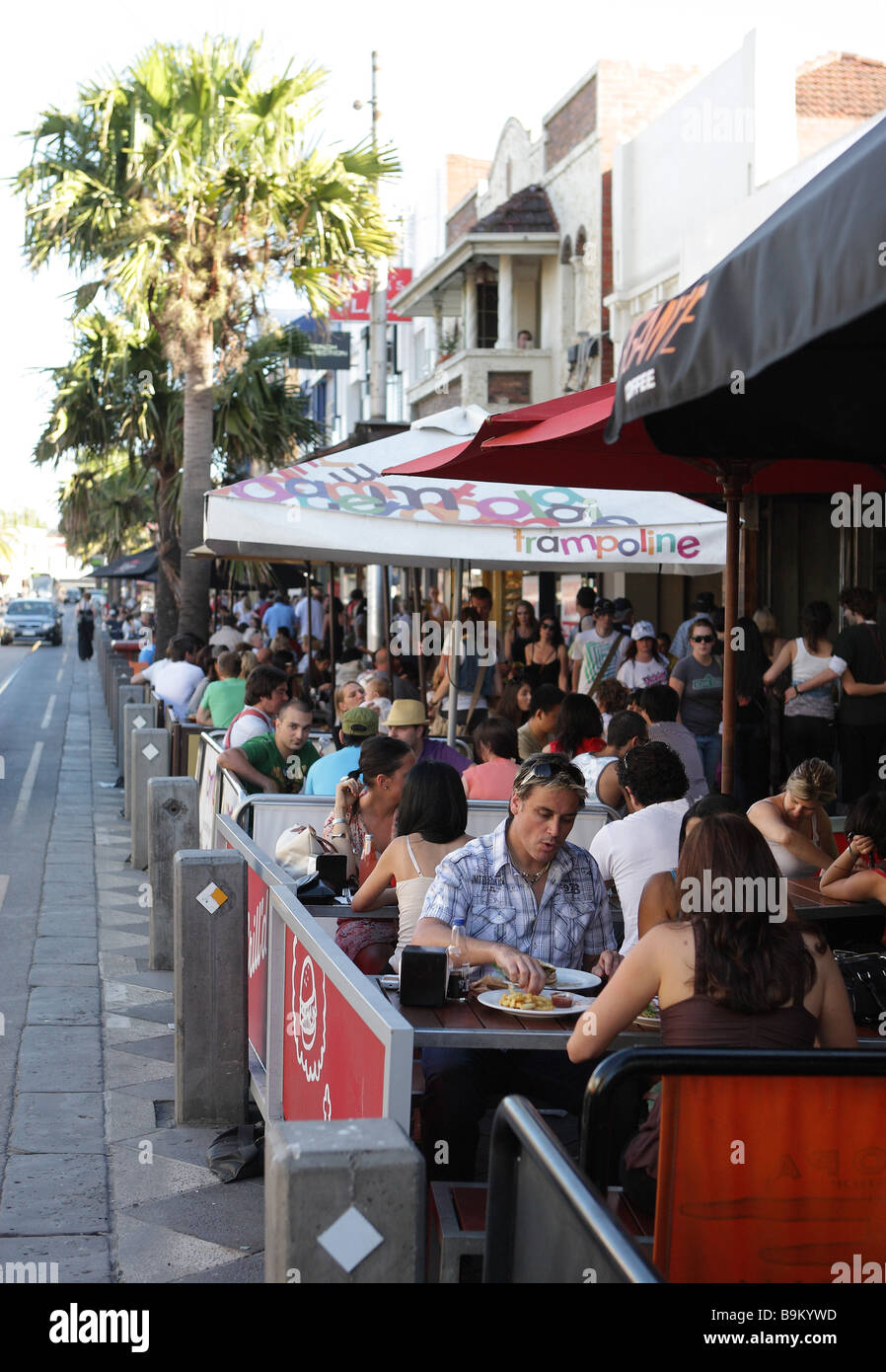 Street cafe in Acland Street in St.Kilda near Melbourne,Victoria,Australia Stock Photo