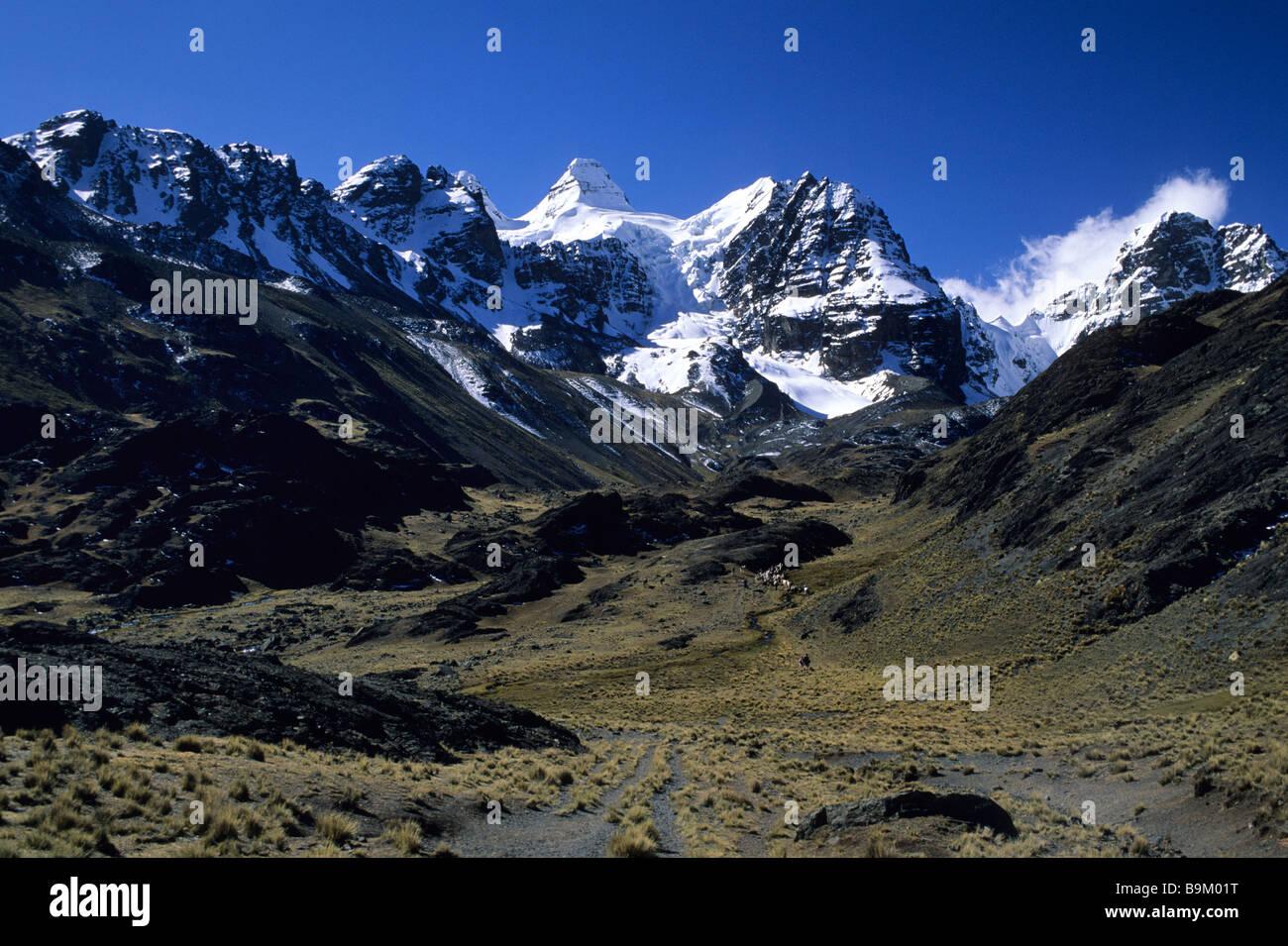Bolivia, La Paz department, Real Cordillera, Condoriri mountains, trekking - Stock Image