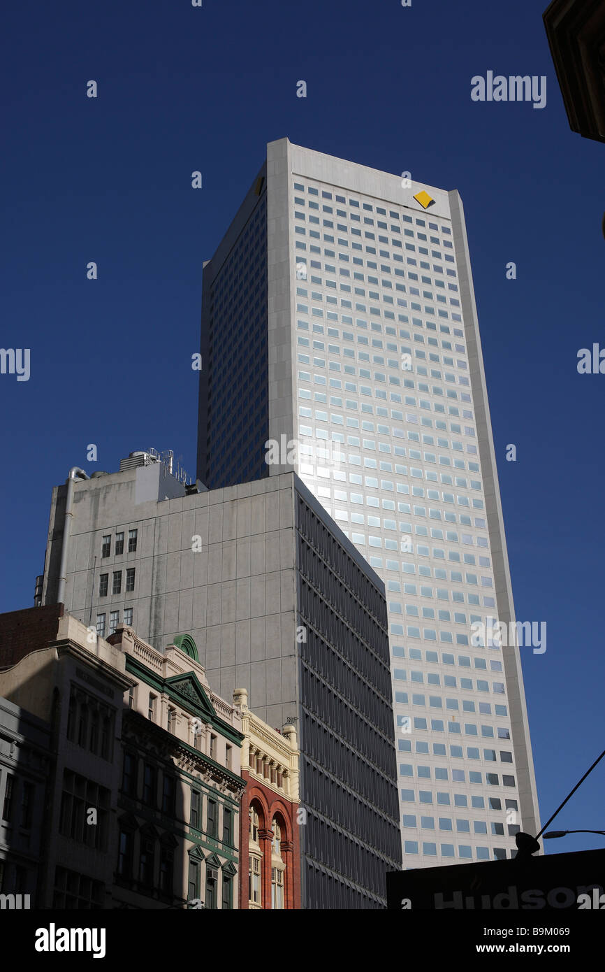 Commonwealth Bank Headquarters building with logo in Melbourne,Australia - Stock Image
