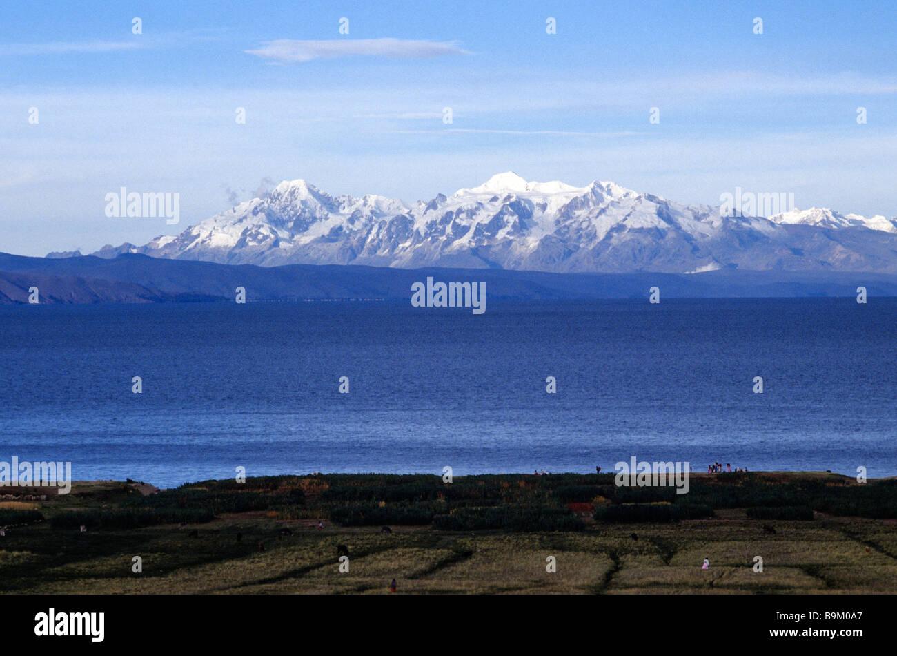 Bolivia, La Paz department, Lake Titicaca, Island of the Sun, the Real Cordillera Stock Photo
