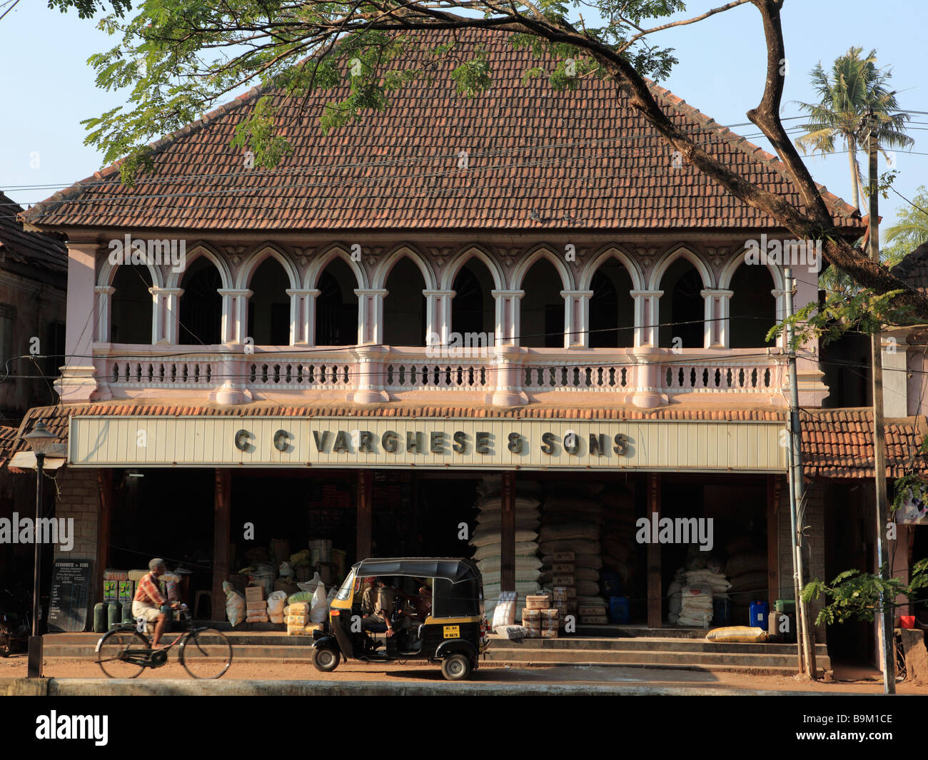 India Kerala Alappuzha Alleppey traditional shophouse - Stock Image