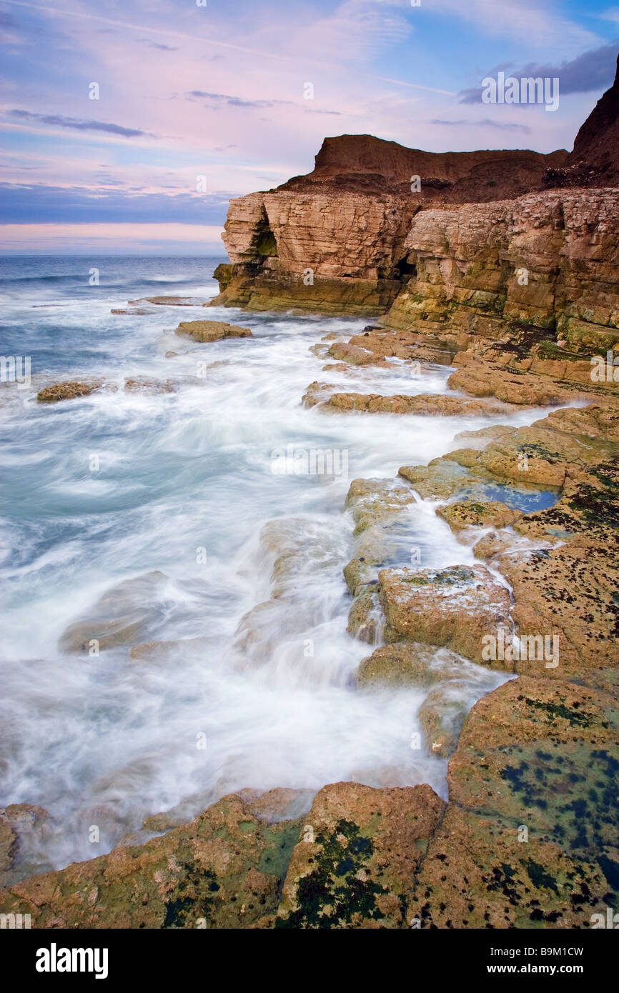 Evening at Thornwick Bay near Flamborough Head on the North Yorkshire coast Photographed in August Stock Photo