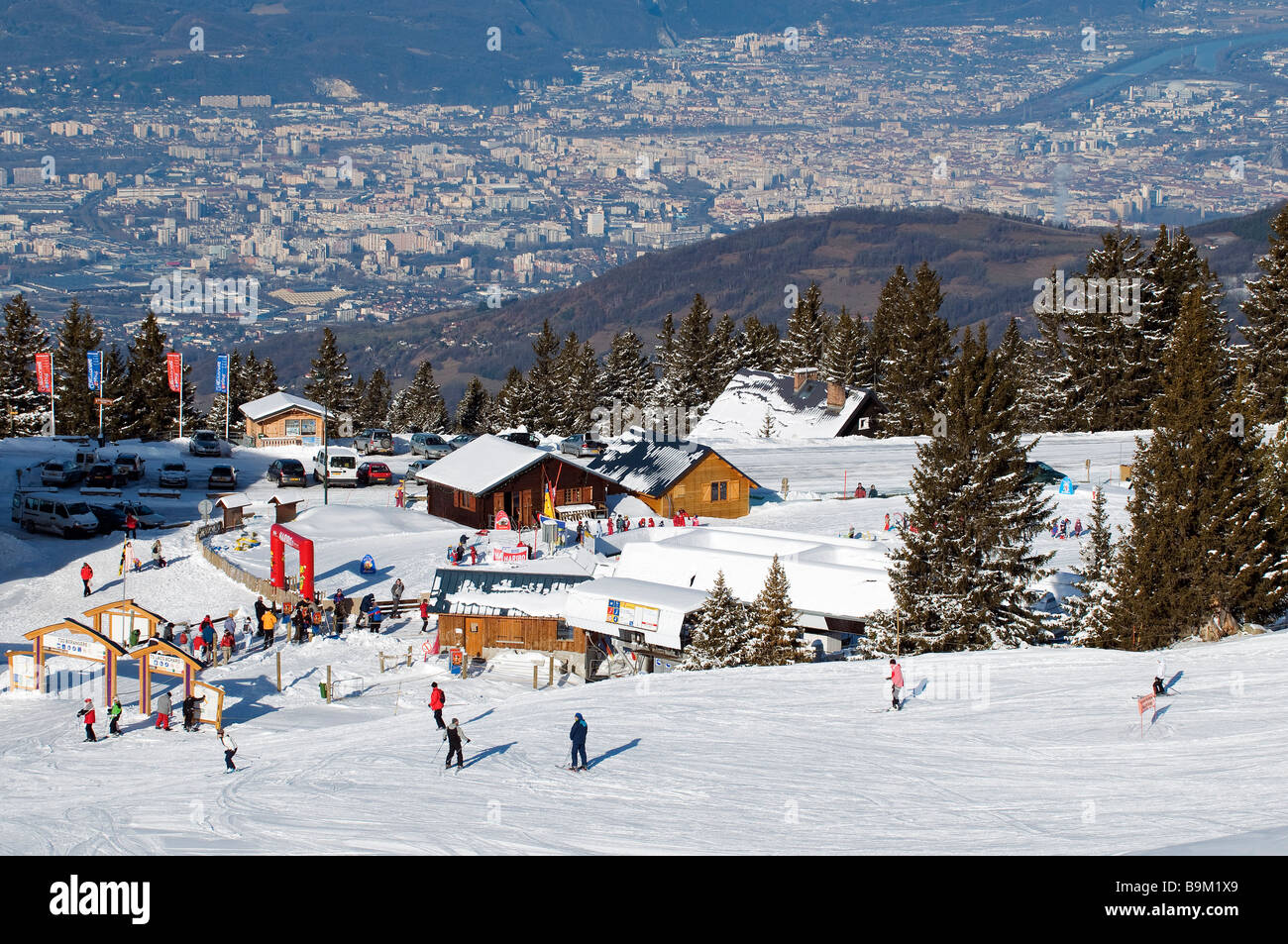france, isere, belledonne massif, chamrousse, ski resort dominating
