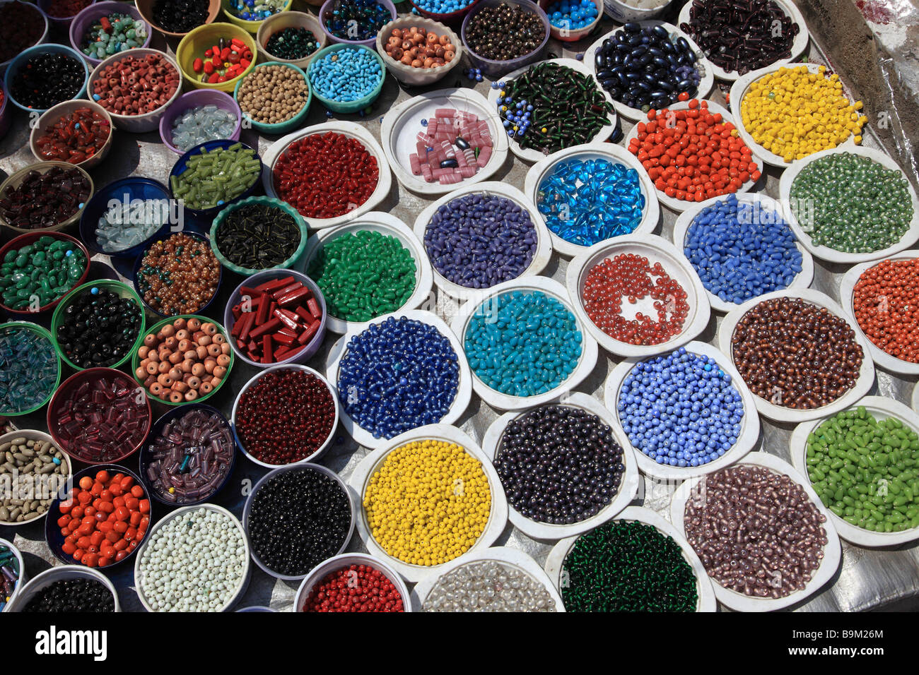 India Puducherry Pondicherry coloured beads - Stock Image