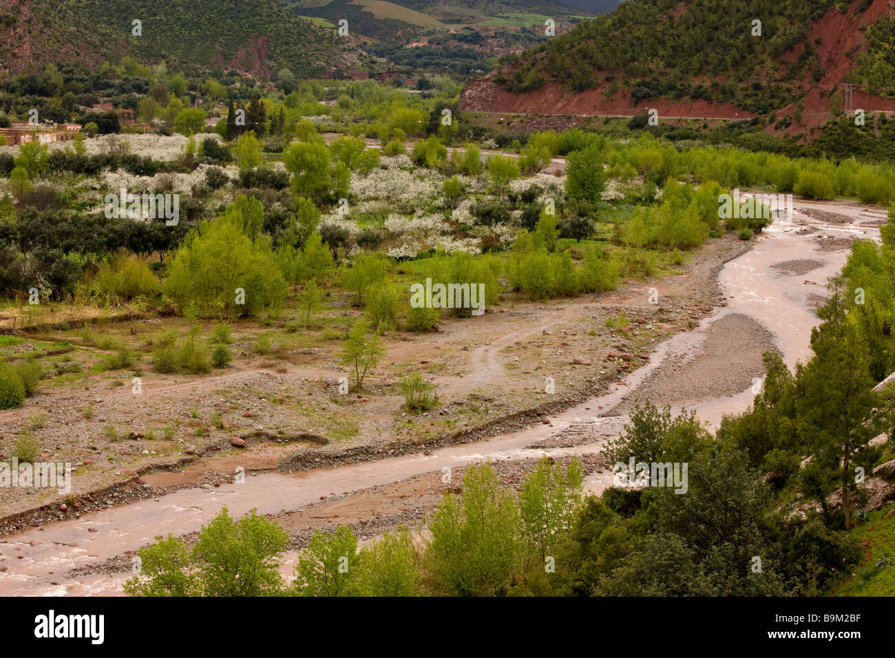 Ourika river in spate after heavy rain showing how much material is eroded from mountains The High Atlas Morocco - Stock Image