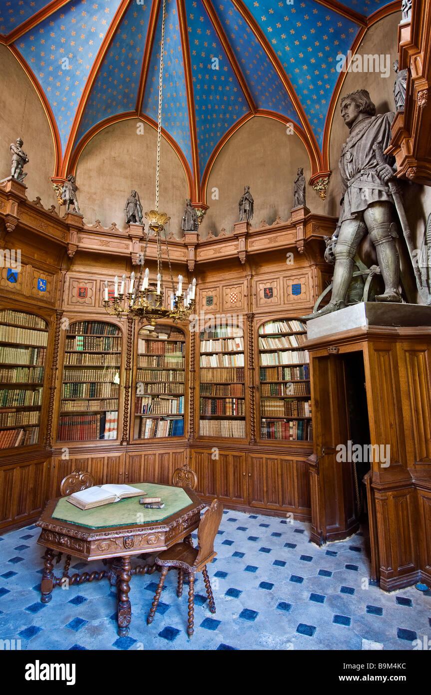France Maine Et Loire Chanzeaux 19th Century Neo Gothic Castle Octagonal Librairy