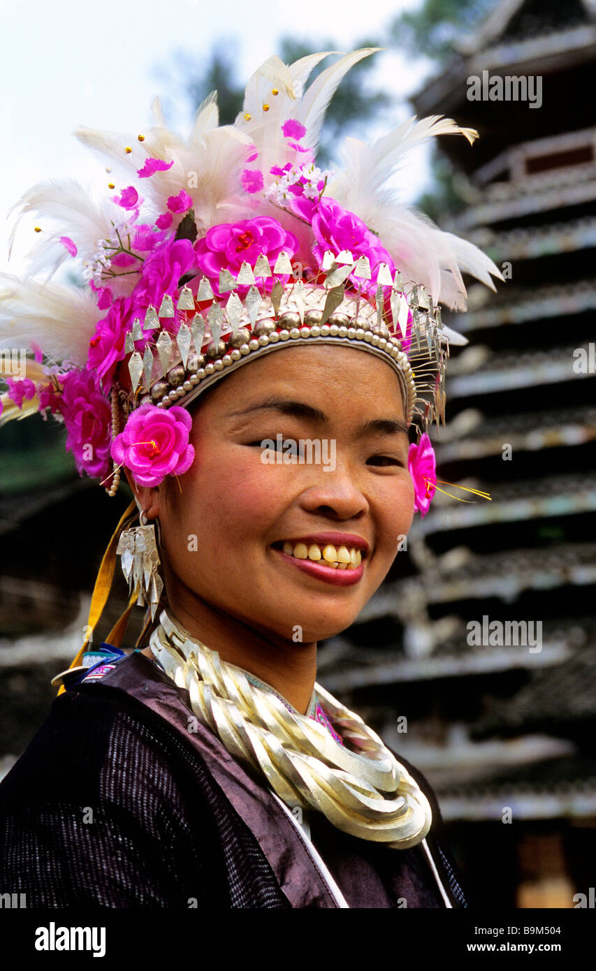 China, Guangxi province, woman of the Dong ethnic group Stock Photo