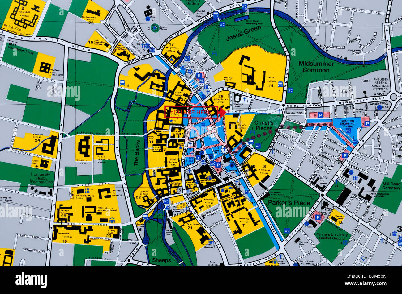 Tourist Map of Cambridge City Centre King Street Cambridge England