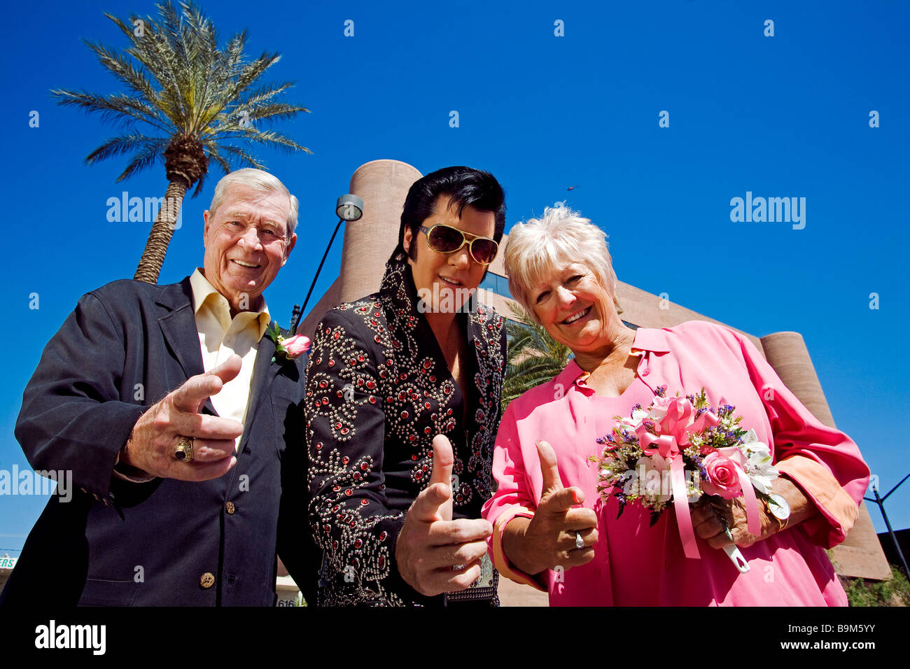 United States Nevada Las Vegas The Strip Married Couple In Front