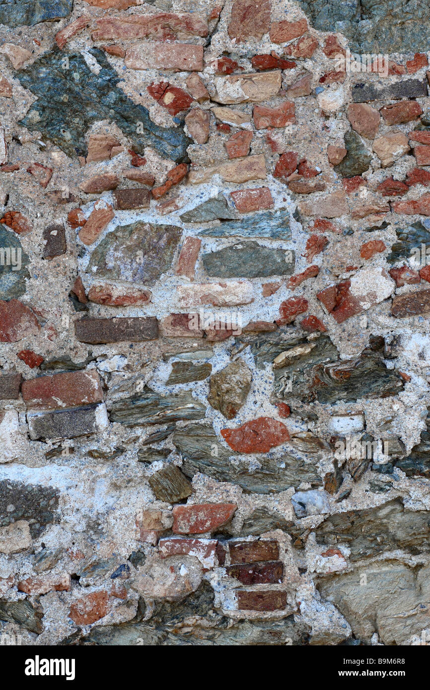 image close up of ancient stone wall texture - Stock Image