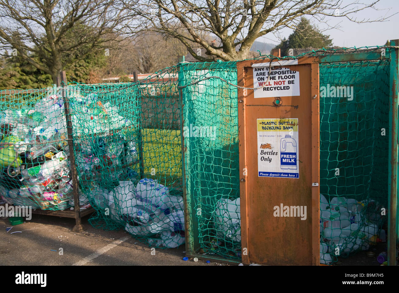 Wales UK Plastic bottle recycling facilities - Stock Image