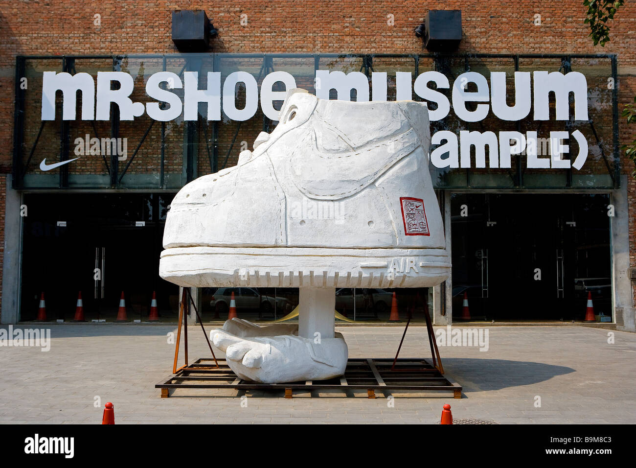 China, Beijing, Nike 706 Store held the Mr. Shoe Museum (Sample), exhibition of Michael Lau sculpture - Stock Image