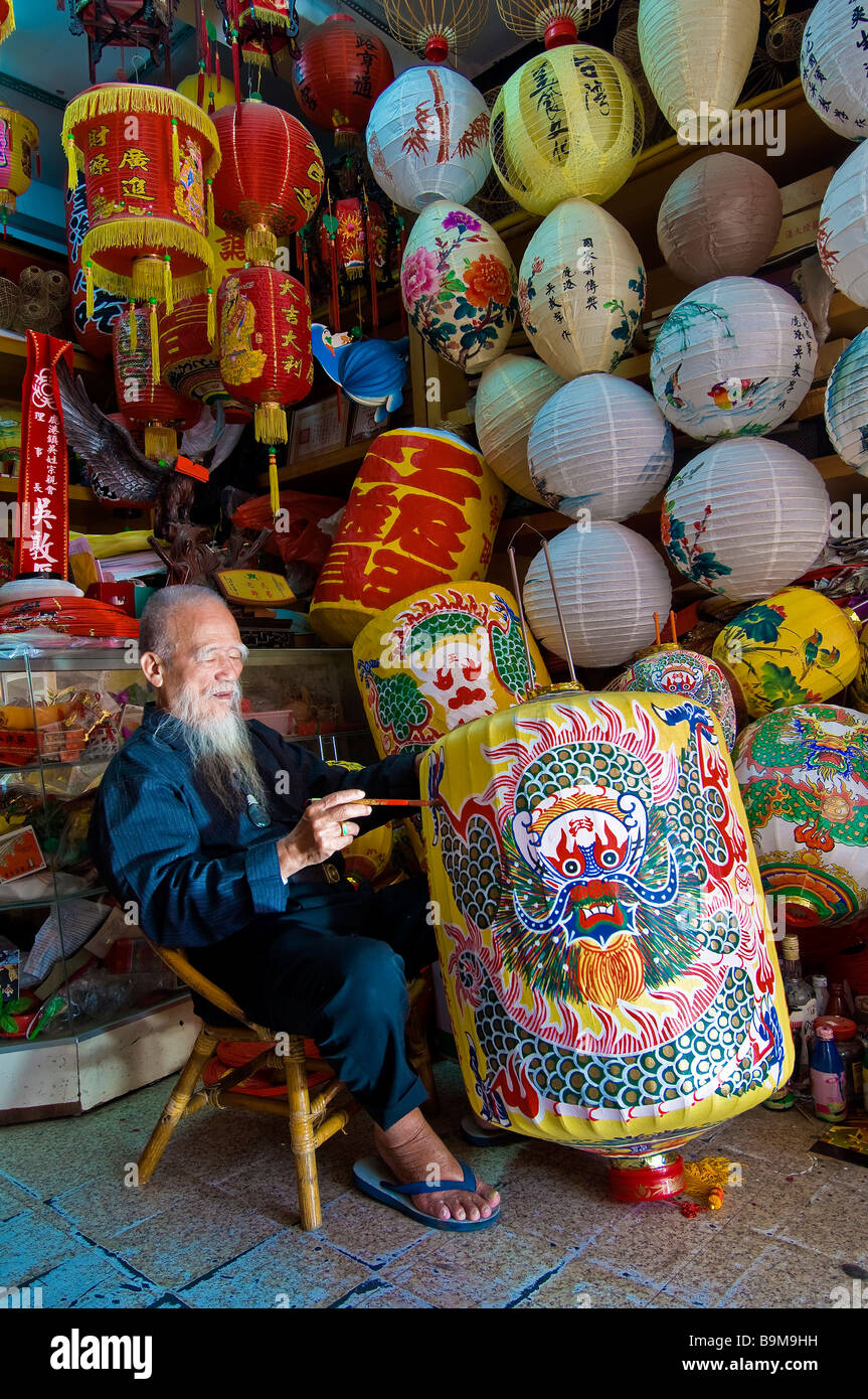 Taiwan, Changhua district, Lugang, in his shop Folk Lanterns, Wu Duen-How has been making traditional lanterns since - Stock Image