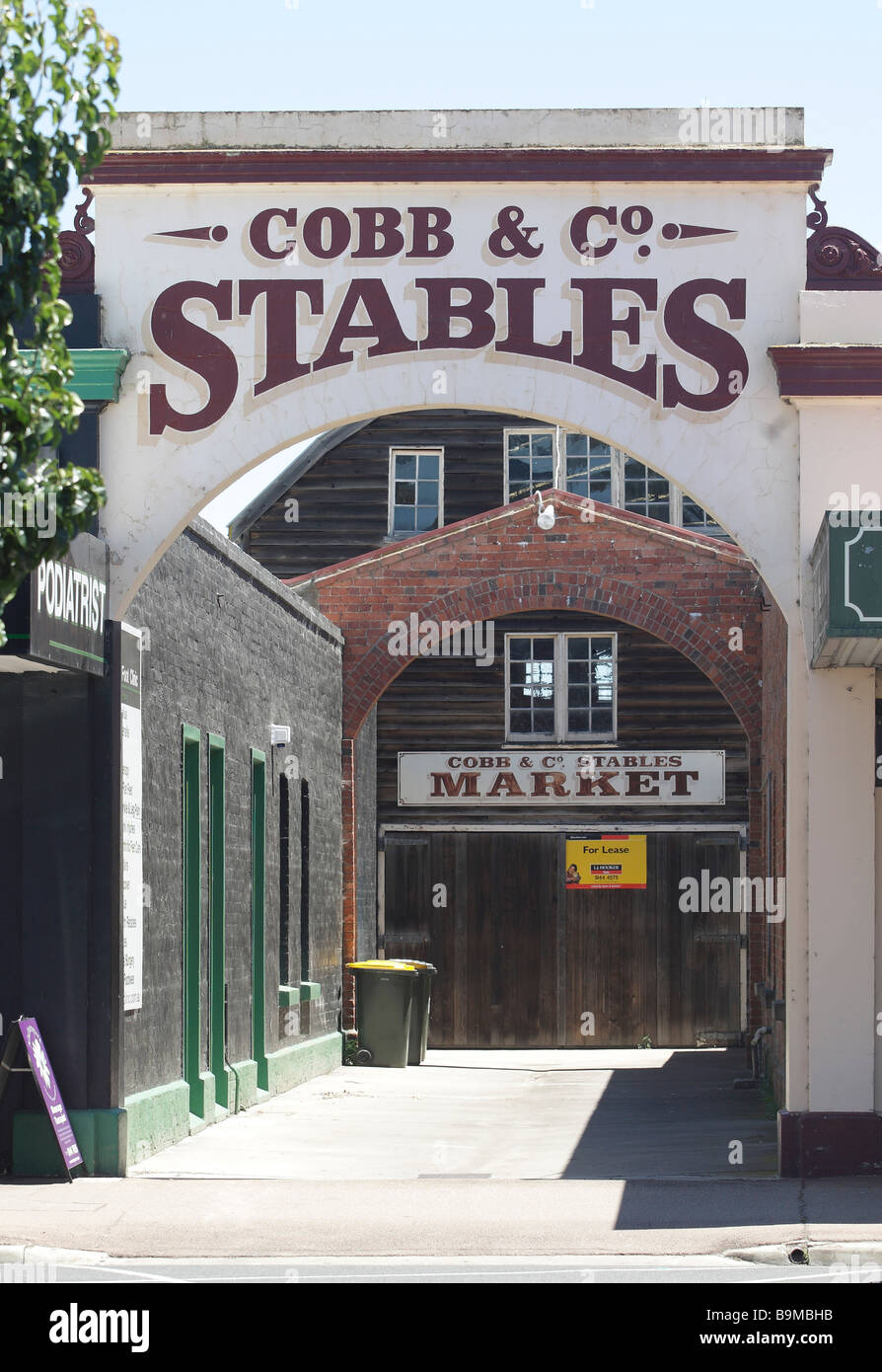 Entrance to the former Cobb & Co Stables in Sale, Victoria,Australia - Stock Image