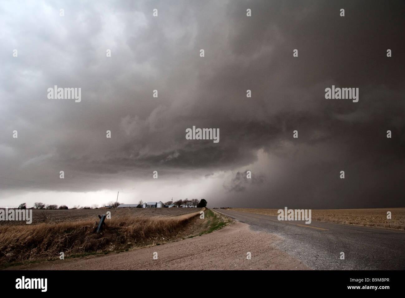 A supercell thunderstorm east of McCool Junction Nebraska March 23 2009 Stock Photo