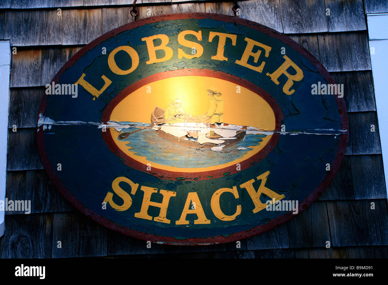 Unites States, Maine, Ogunquit, lobster fishing sign in the port - Stock Image