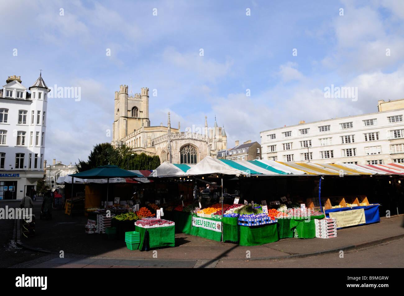 Cambridge Market and Great St Marys Church Cambridge England UK - Stock Image