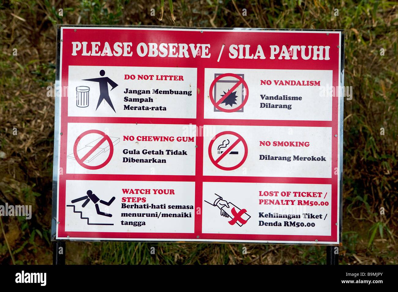 Malaysia Kedah State Langkawi Island A Forbidding Sign Stock Photo Alamy